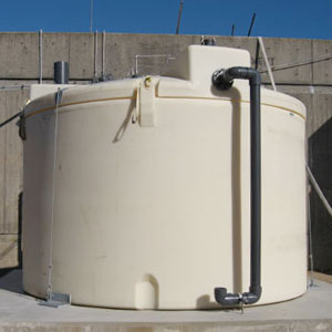 Caustic storage tanks